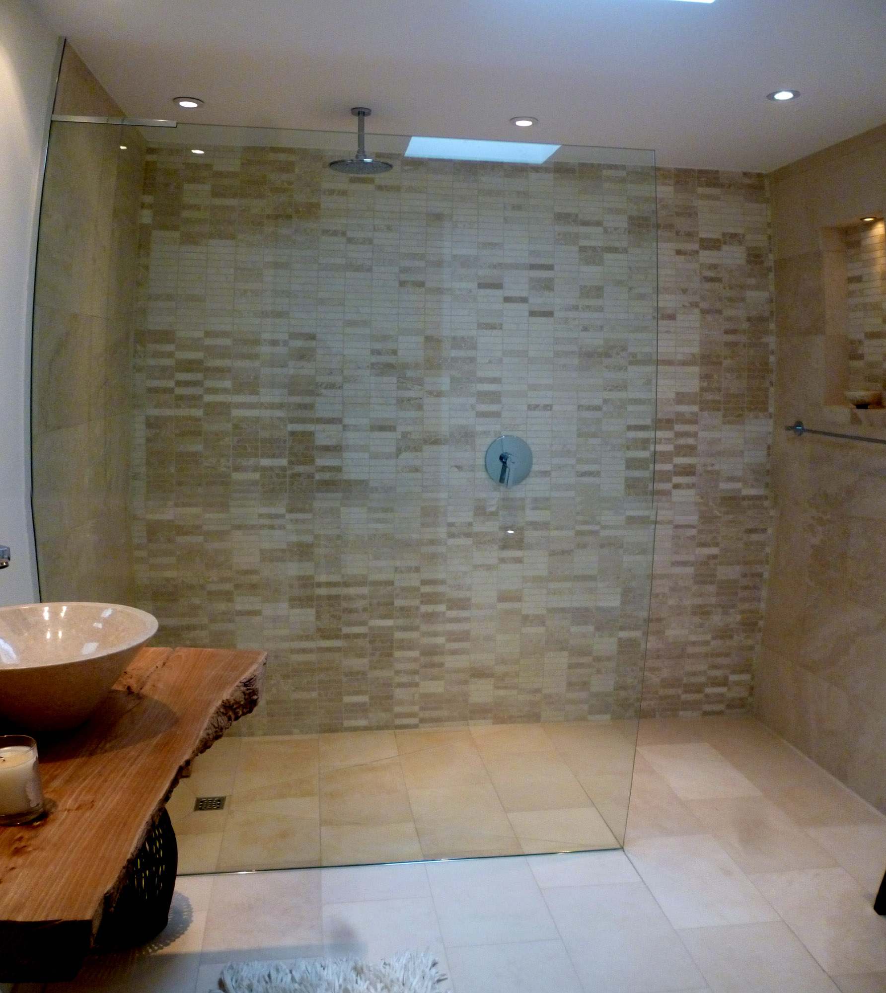 Shower screens and wet room glass donegal glass for Shower room flooring ideas
